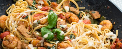 Spicy scampi linguine