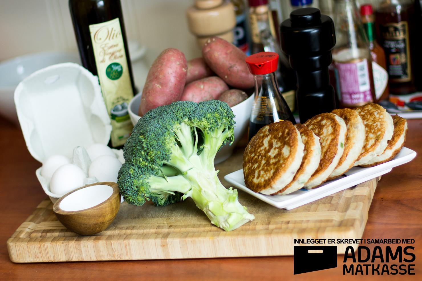 Ingredienser | Fiskekaker med eggesmør, potetbåter og brokkolo | Adams Matkasse
