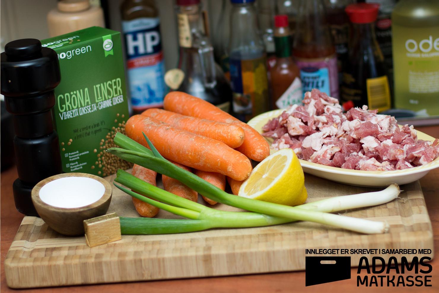 Ingredienser | Gulrot- og linsesuppe med bacon og varløk | Adams Matkasse
