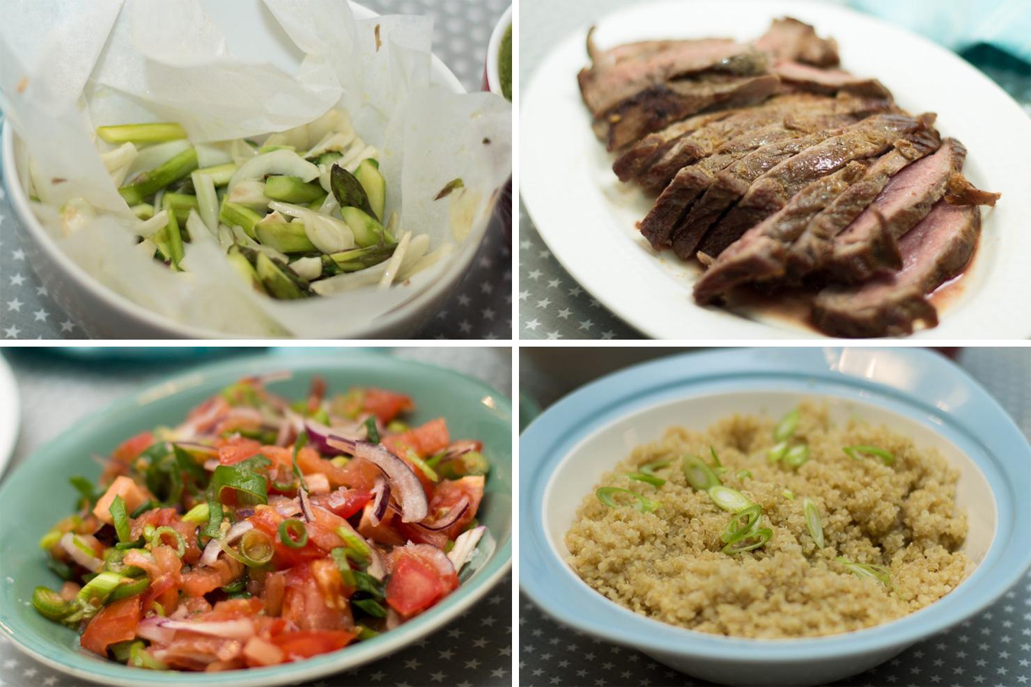 Tilbehør | Hvetetortillas med ovnsbakt fennikel og asparges, quinoa, ytrefilet av okse, tomatsalsa og spicy guacemole