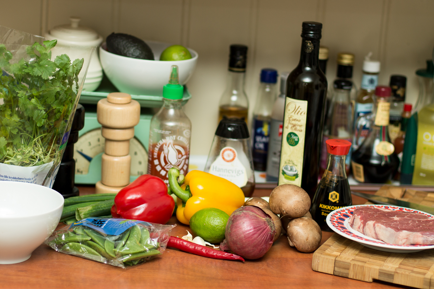Ingredienser | Rask srirachawok med biff og grønnsaker