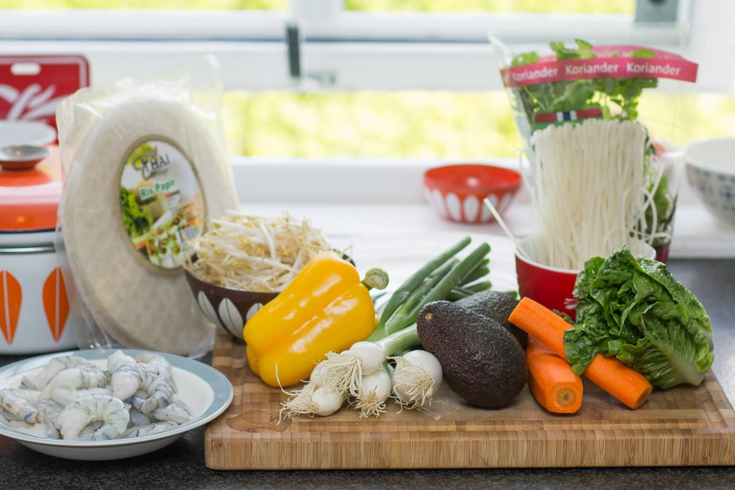 Ingredienser | Ferske vårruller med scampi