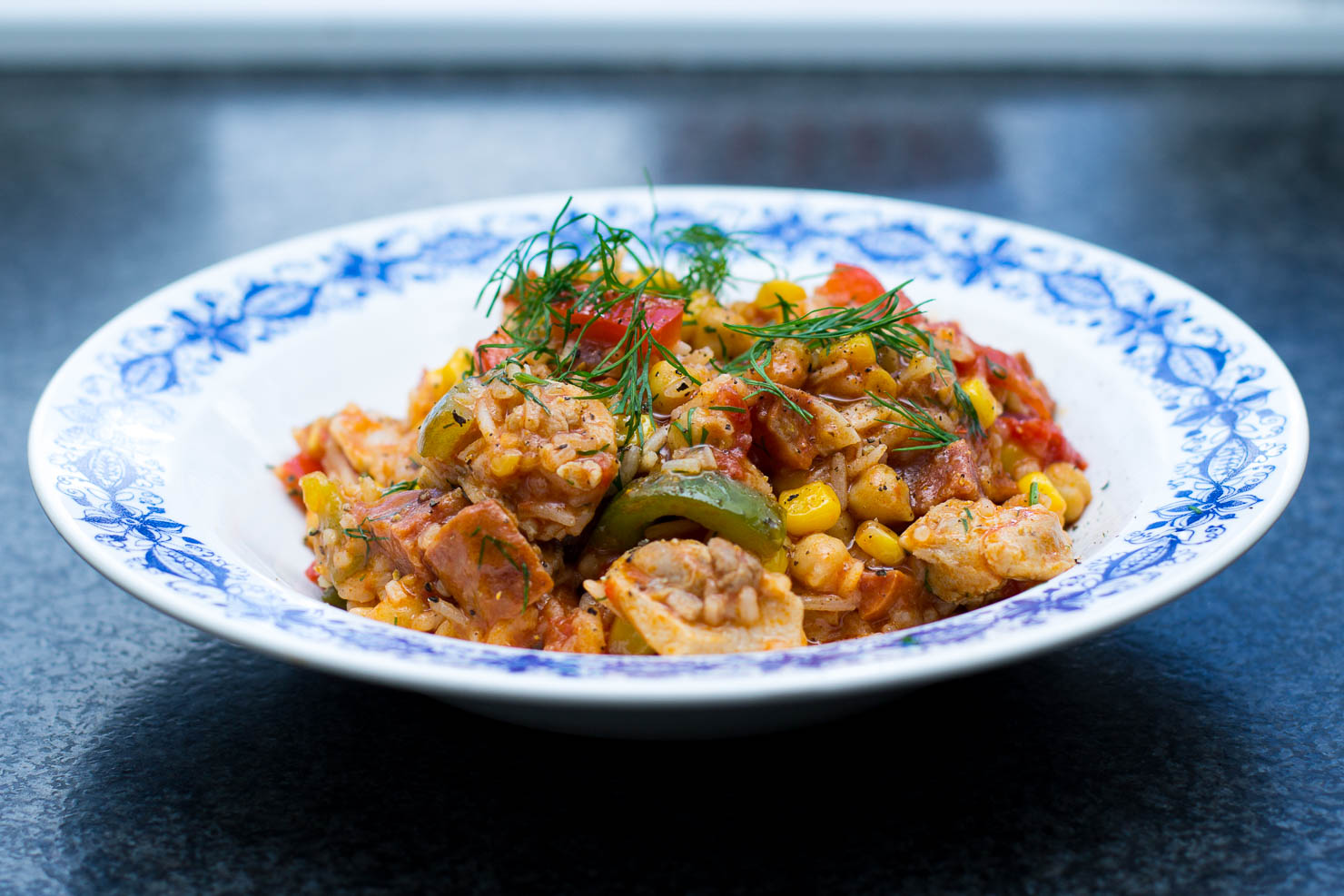 Kyllinggryte med ris og chorizo
