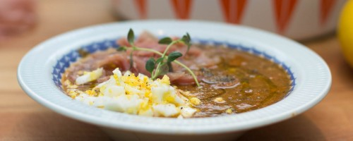 Chorizo- og kikertsuppe