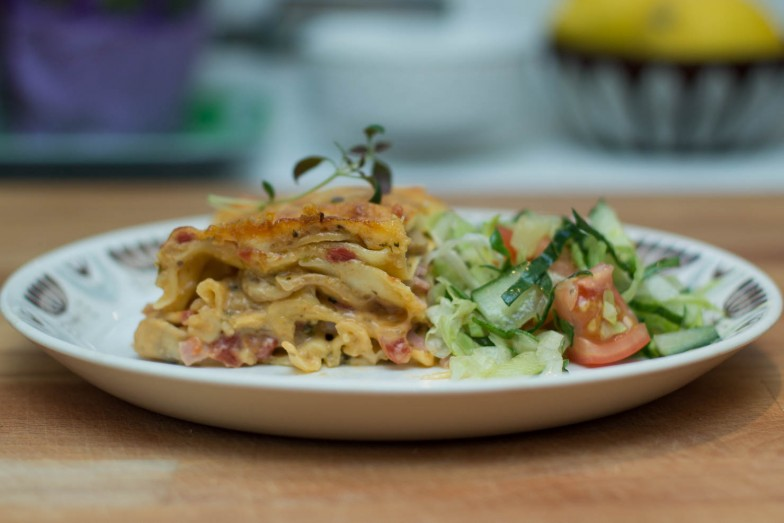 Lasagne med sopp og skinke