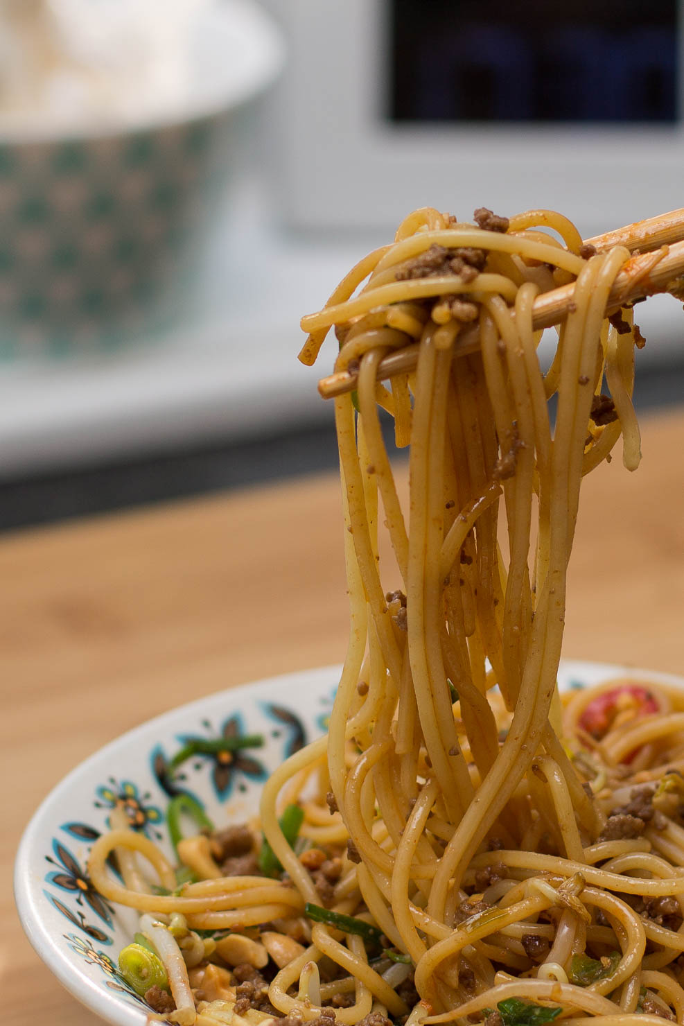 Closeup | Spicy asiatiskinspirert spaghetti